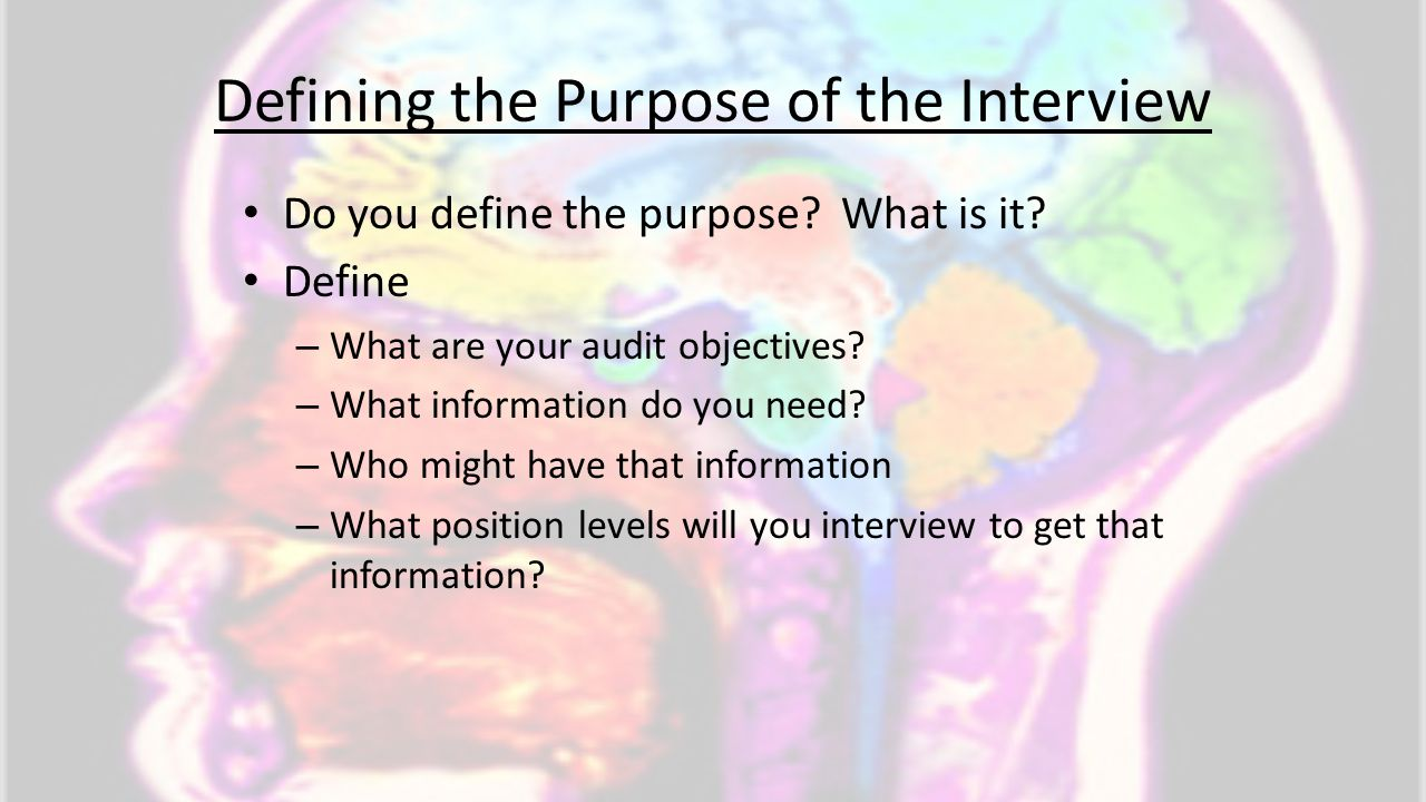 Defining the Purpose of the Interview Do you define the purpose? What is it? Define – What are your audit objectives? – What information do you need?