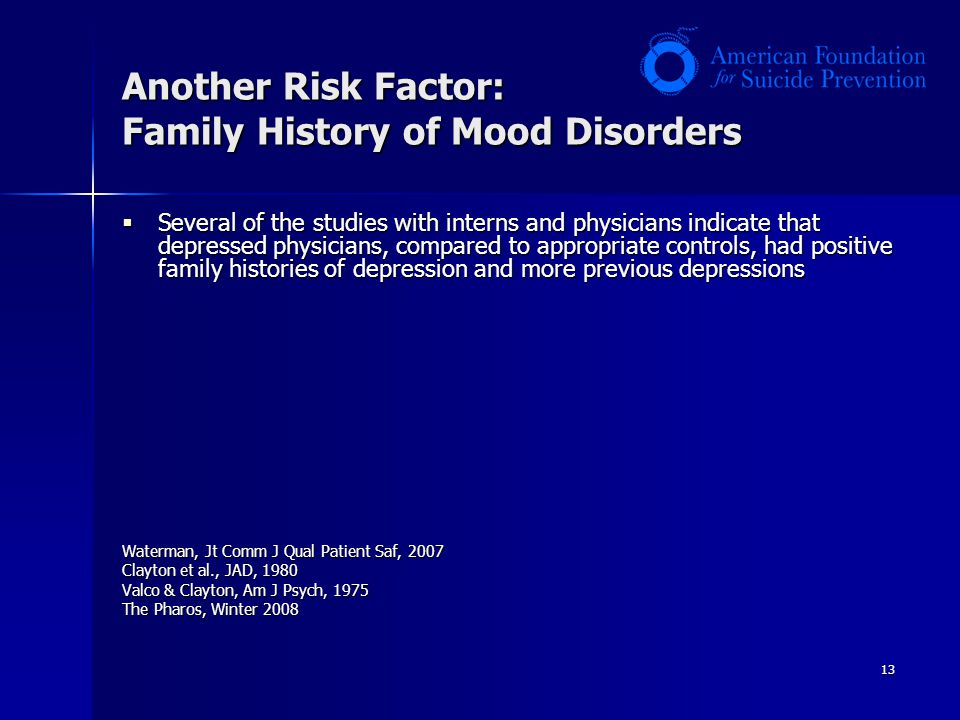 13 Another Risk Factor: Family History of Mood Disorders  Several of the studies with interns and physicians indicate that depressed physicians, compared to appropriate controls, had positive family histories of depression and more previous depressions Waterman, Jt Comm J Qual Patient Saf, 2007 Clayton et al., JAD, 1980 Valco & Clayton, Am J Psych, 1975 The Pharos, Winter 2008