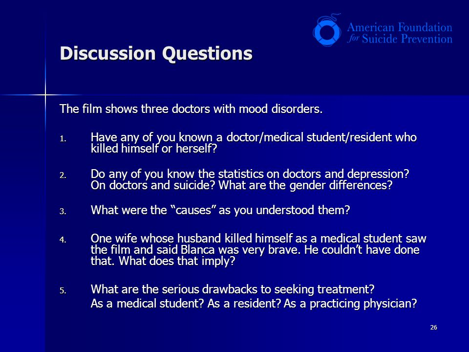 26 Discussion Questions The film shows three doctors with mood disorders.