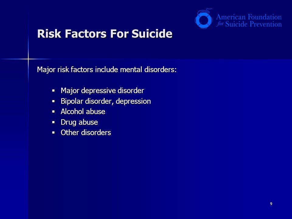 9 Risk Factors For Suicide Major risk factors include mental disorders:  Major depressive disorder  Bipolar disorder, depression  Alcohol abuse  Drug abuse  Other disorders