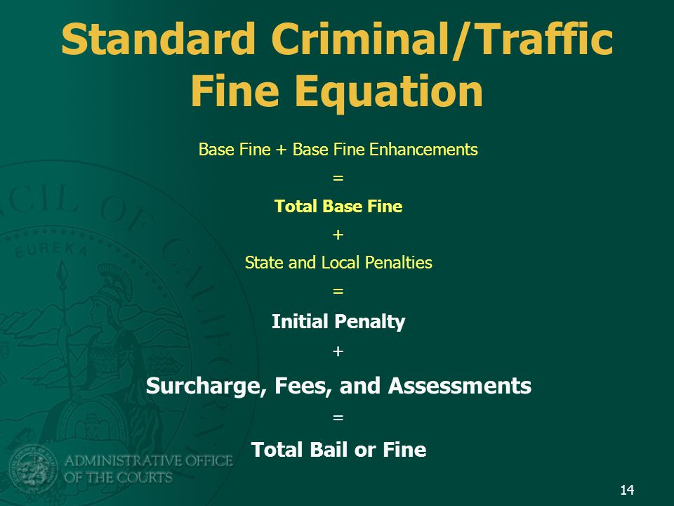 Standard Criminal/Traffic Fine Equation Base Fine + Base Fine Enhancements = Total Base Fine + State and Local Penalties = Initial Penalty + Surcharge