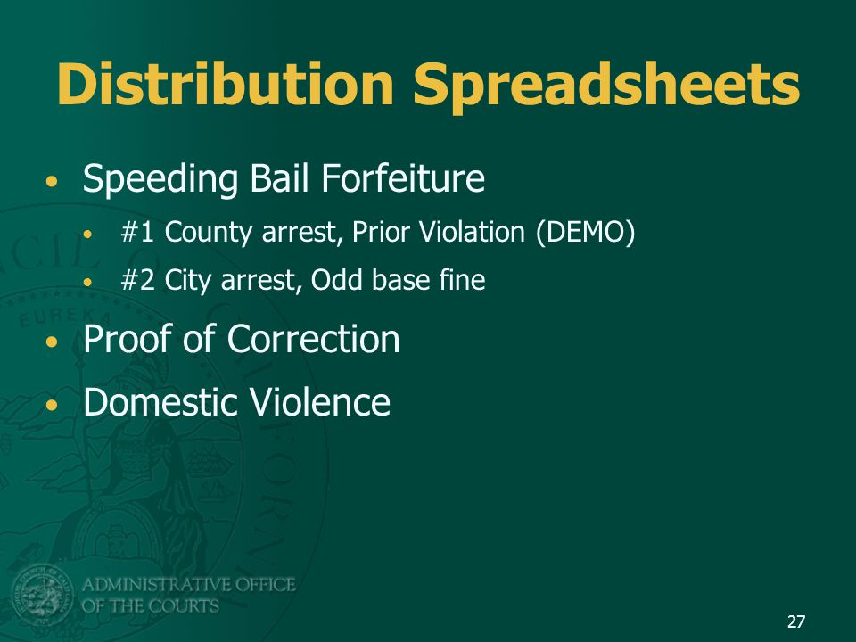 Distribution Spreadsheets Speeding Bail Forfeiture #1 County arrest, Prior Violation (DEMO) #2 City arrest, Odd base fine Proof of Correction Domestic Violence 27