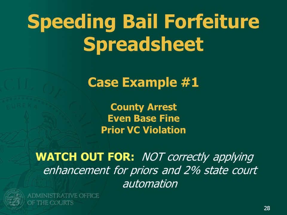 Speeding Bail Forfeiture Spreadsheet Case Example #1 County Arrest Even Base Fine Prior VC Violation WATCH OUT FOR: NOT correctly applying enhancement