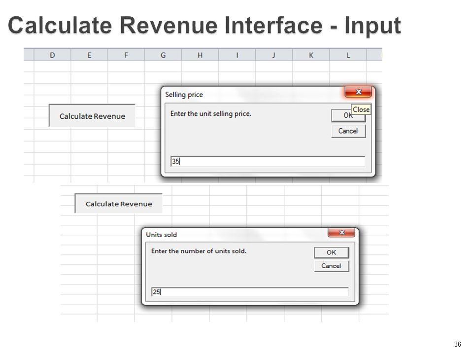 36 Calculate Revenue Interface - Input