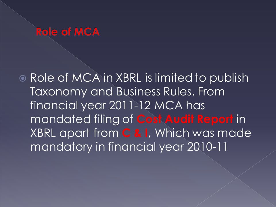  Role of MCA in XBRL is limited to publish Taxonomy and Business Rules.