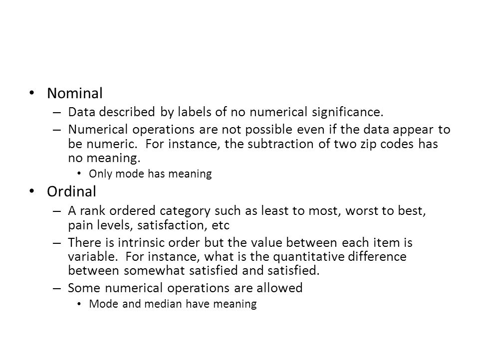 Nominal – Data described by labels of no numerical significance.