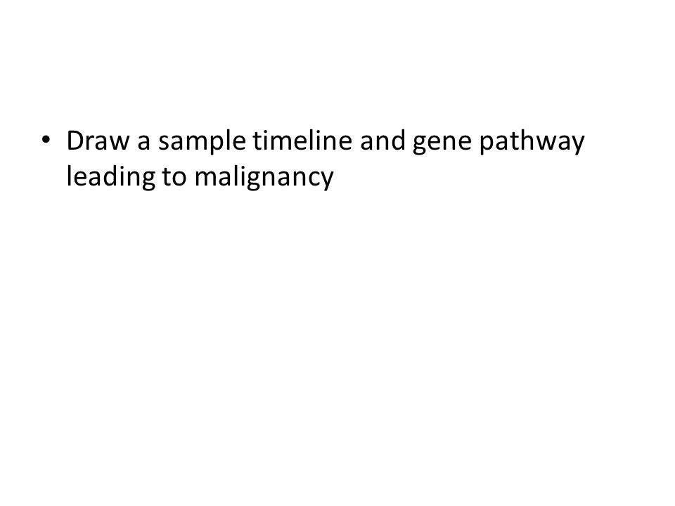Draw a sample timeline and gene pathway leading to malignancy