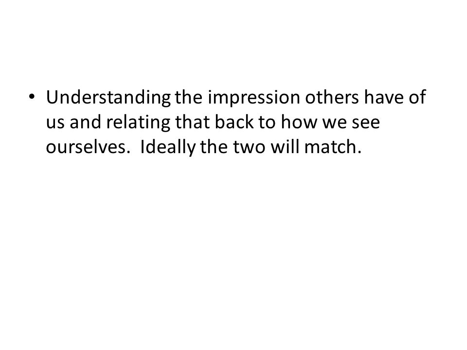 Understanding the impression others have of us and relating that back to how we see ourselves. Ideally the two will match.