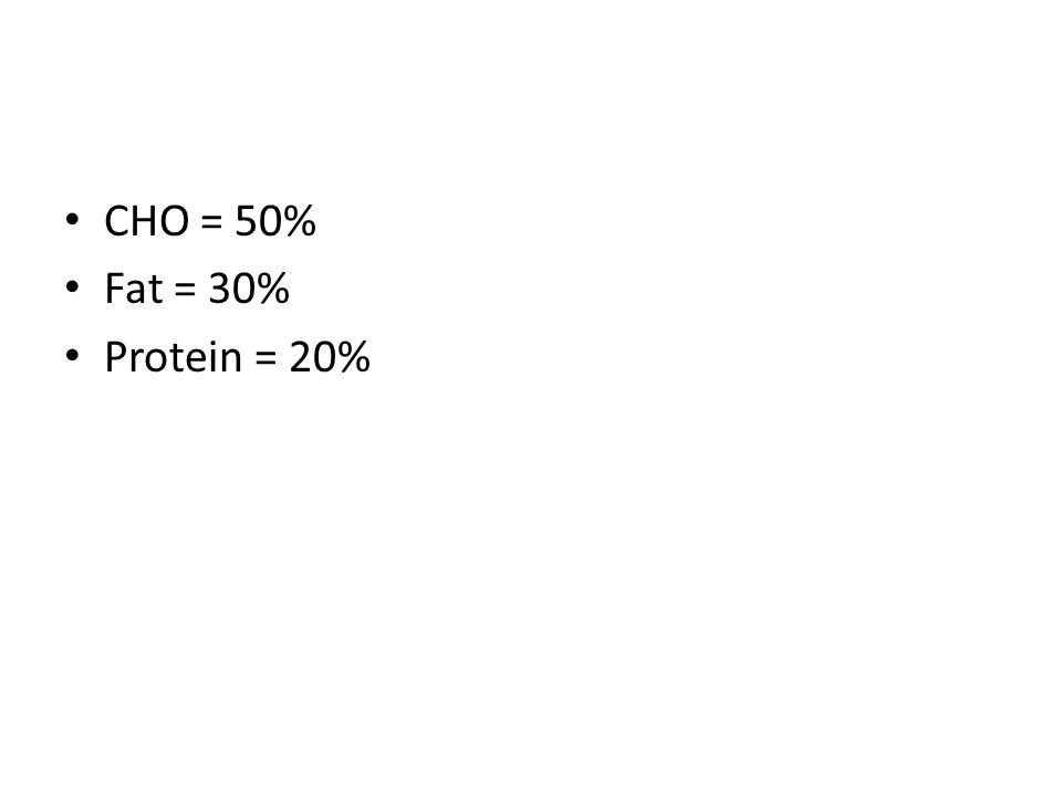 CHO = 50% Fat = 30% Protein = 20%