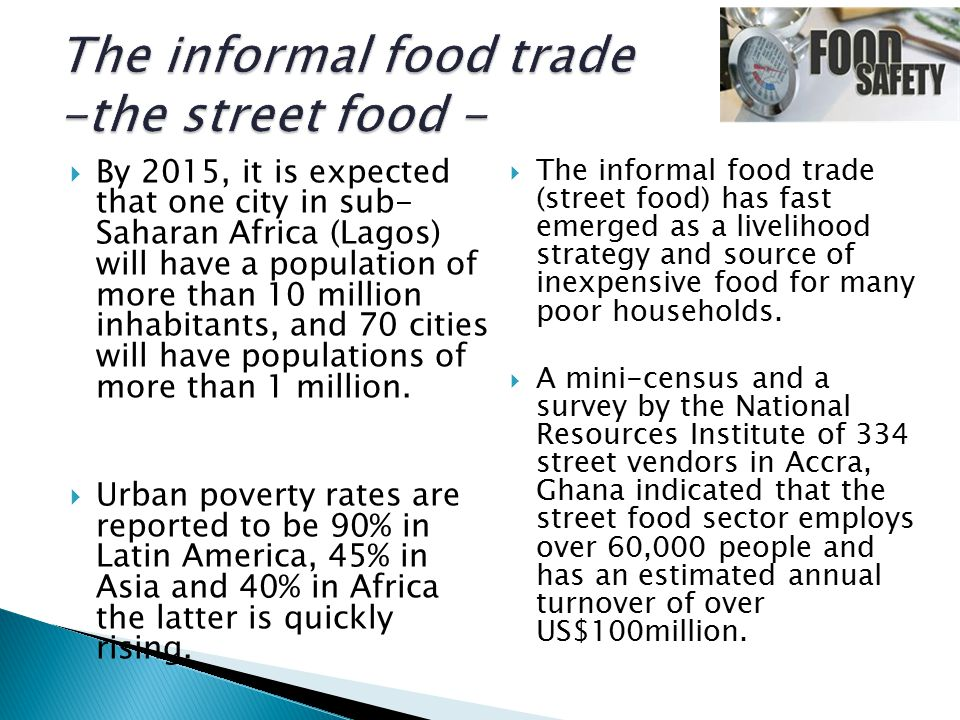  By 2015, it is expected that one city in sub- Saharan Africa (Lagos) will have a population of more than 10 million inhabitants, and 70 cities will