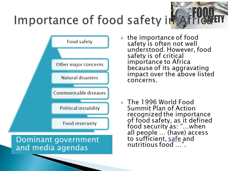 Dominant government and media agendas  the importance of food safety is often not well understood. However, food safety is of critical importance to