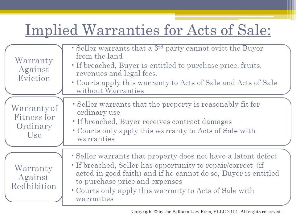 Implied Warranties for Acts of Sale: Seller warrants that a 3 rd party cannot evict the Buyer from the land If breached, Buyer is entitled to purchase price, fruits, revenues and legal fees.