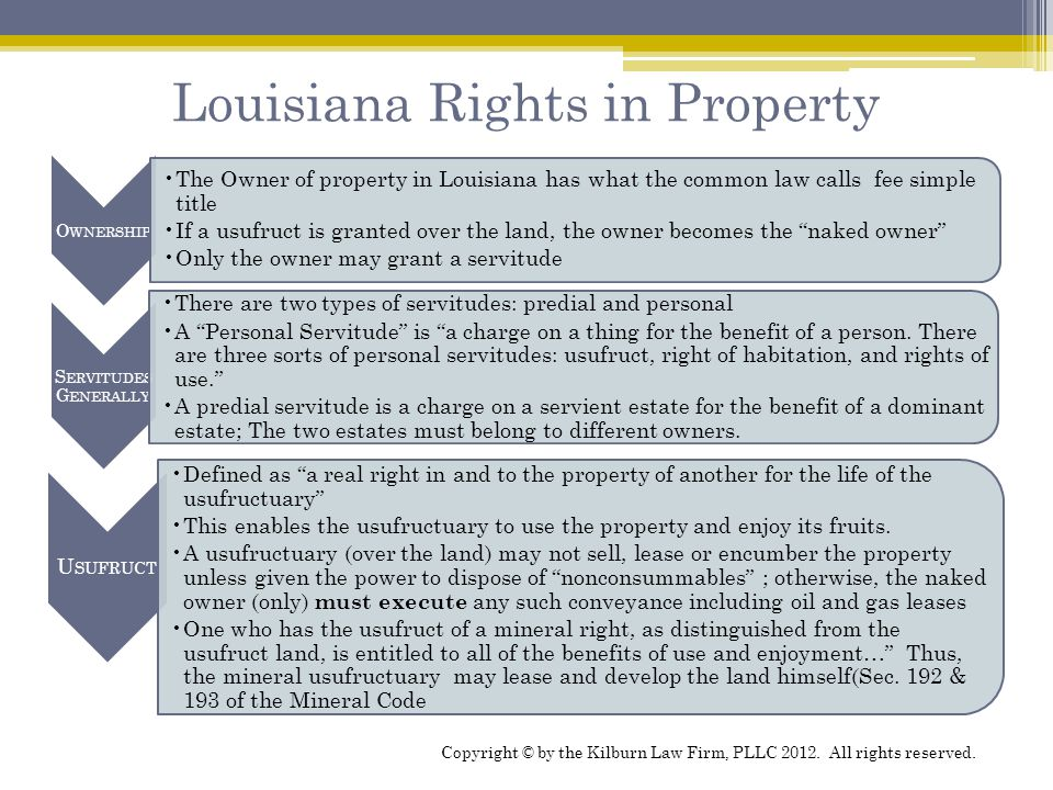 Louisiana Rights in Property O WNERSHIP The Owner of property in Louisiana has what the common law calls fee simple title If a usufruct is granted ove