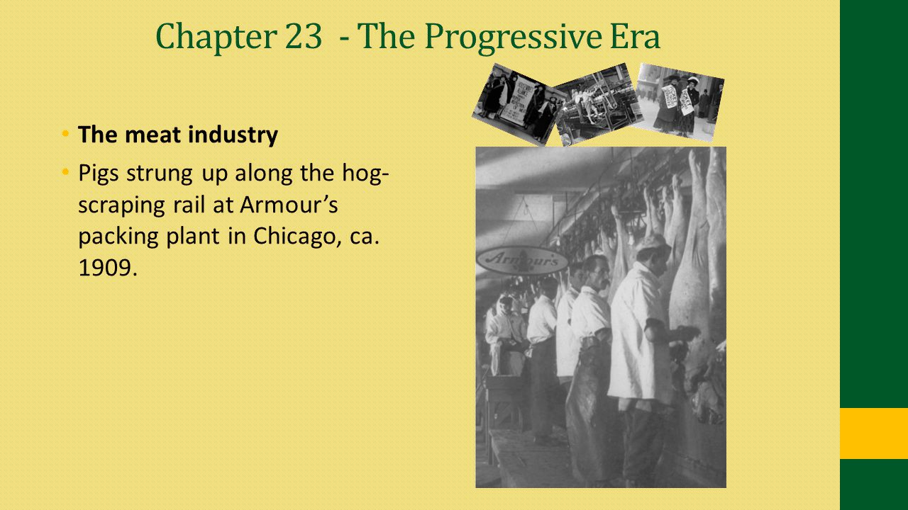 Chapter 23 - The Progressive Era The meat industry Pigs strung up along the hog- scraping rail at Armour's packing plant in Chicago, ca. 1909.