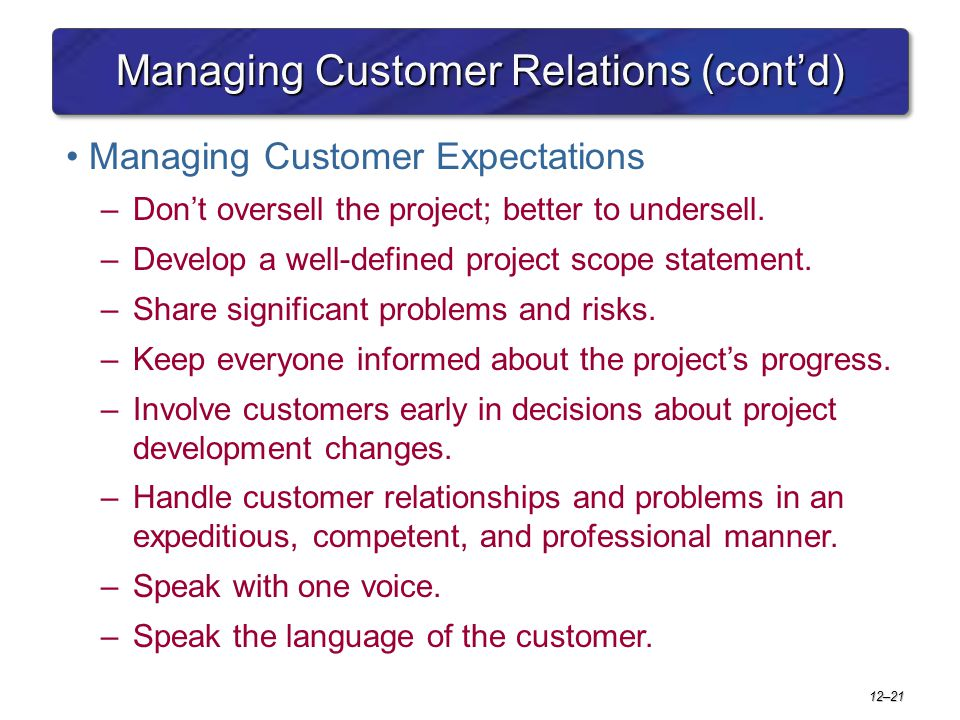 12–21 Managing Customer Relations (cont'd) Managing Customer Expectations –Don't oversell the project; better to undersell. –Develop a well-defined pr