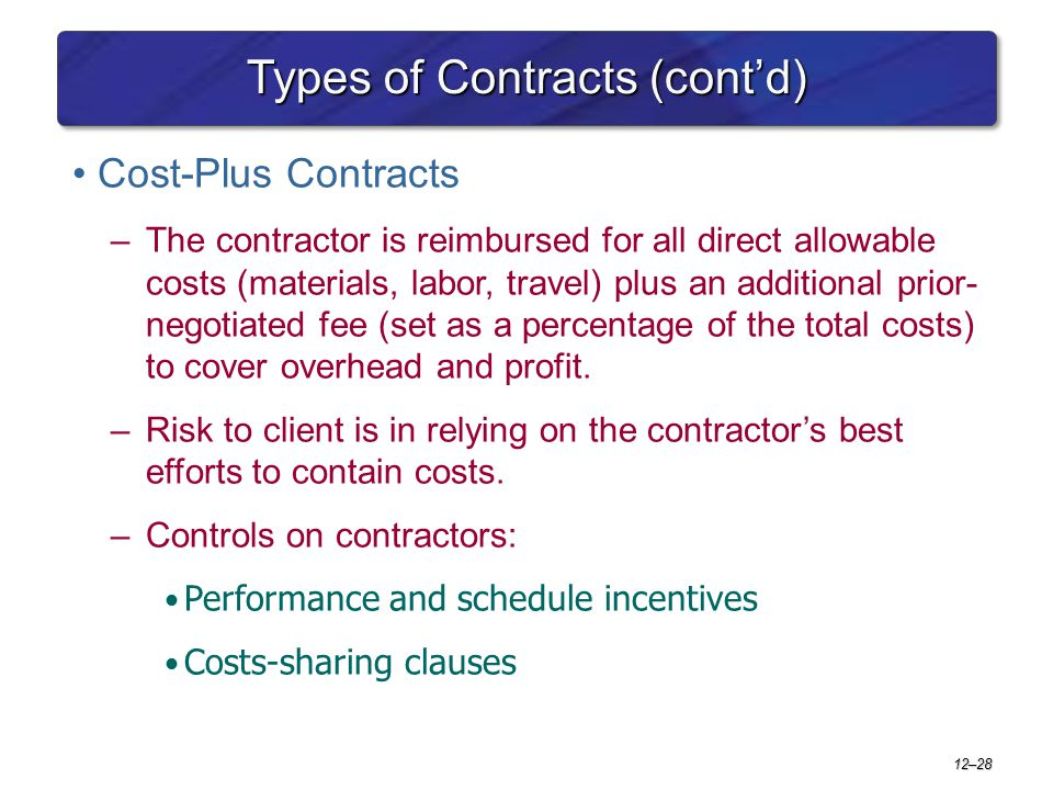 12–28 Types of Contracts (cont'd) Cost-Plus Contracts –The contractor is reimbursed for all direct allowable costs (materials, labor, travel) plus an
