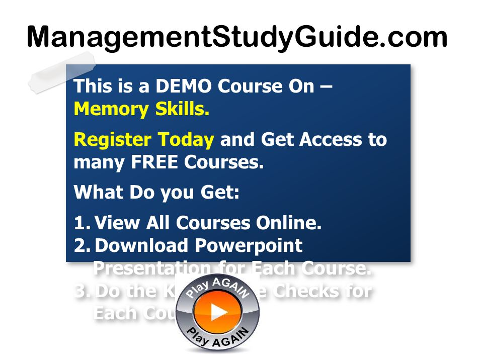 This is a DEMO Course On – Memory Skills. Register Today and Get Access to many FREE Courses.
