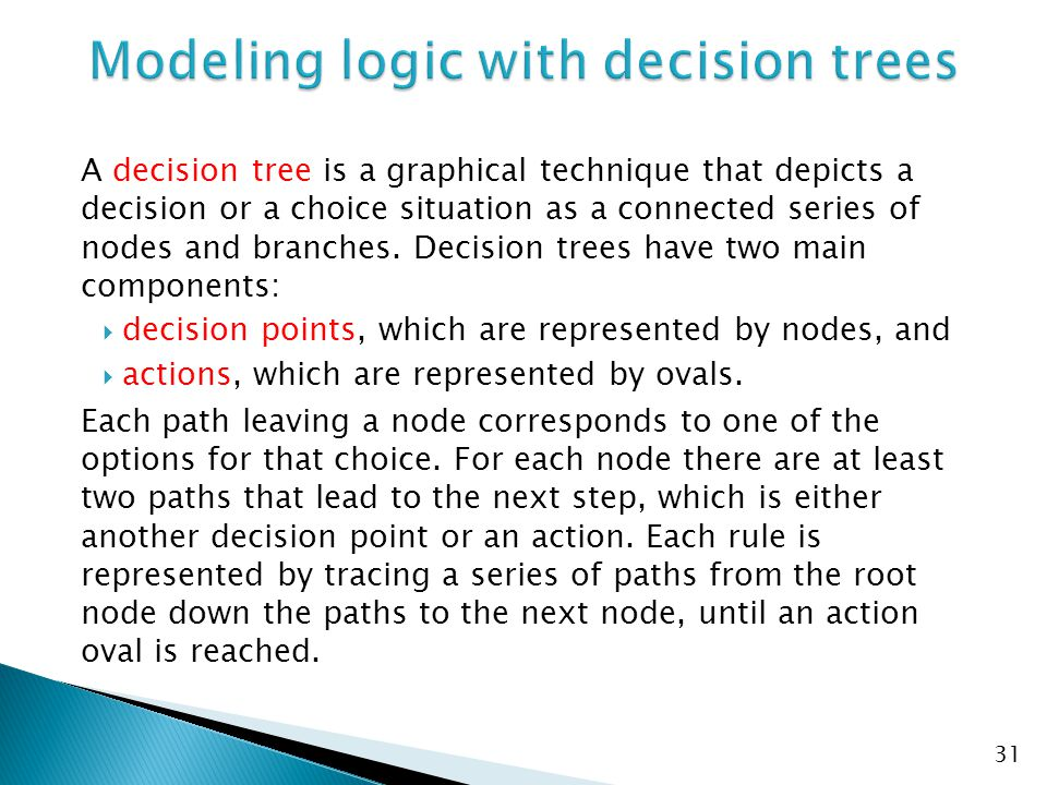 A decision tree is a graphical technique that depicts a decision or a choice situation as a connected series of nodes and branches. Decision trees hav