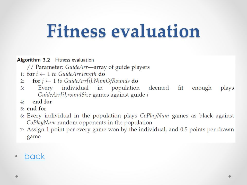 Fitness evaluation back