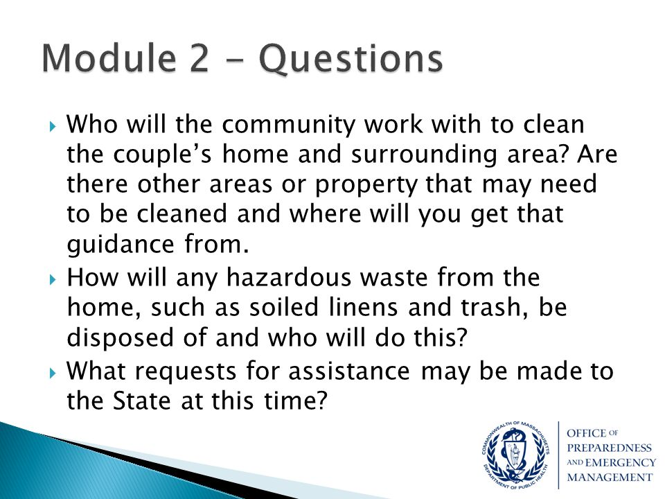  Who will the community work with to clean the couple's home and surrounding area? Are there other areas or property that may need to be cleaned and