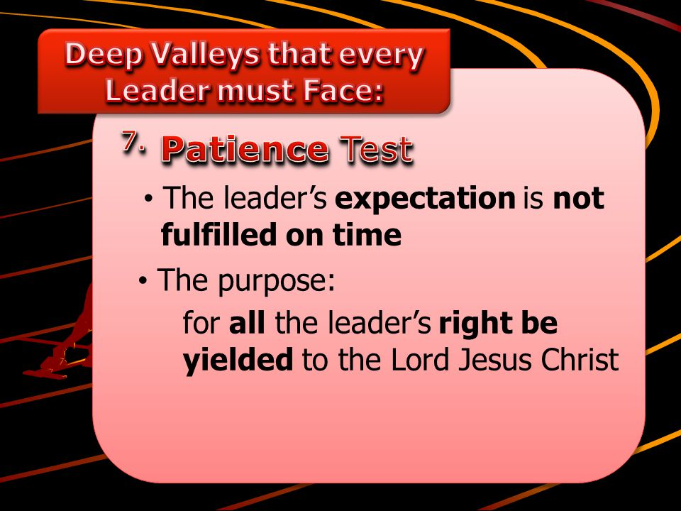 The purpose: The leader's expectation is not fulfilled on time for all the leader's right be yielded to the Lord Jesus Christ