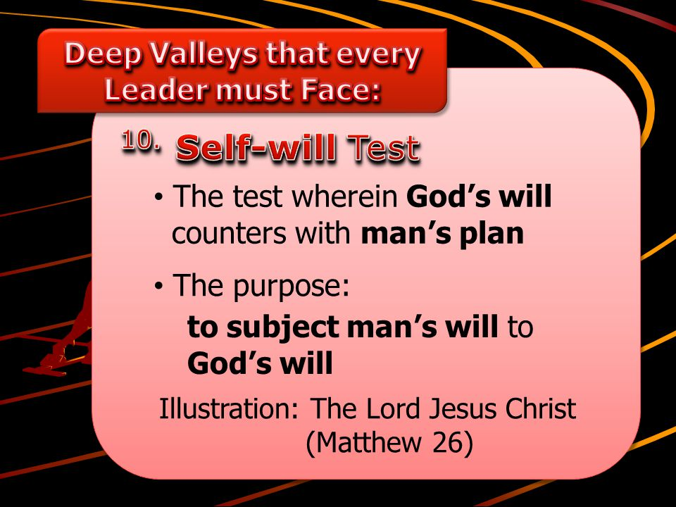 Illustration: The Lord Jesus Christ (Matthew 26) The purpose: The test wherein God's will counters with man's plan to subject man's will to God's will