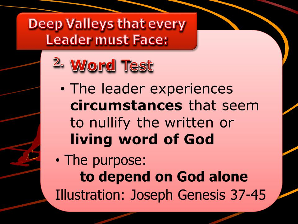 The leader experiences circumstances that seem to nullify the written or living word of God The purpose: Illustration: Joseph Genesis 37-45 to depend