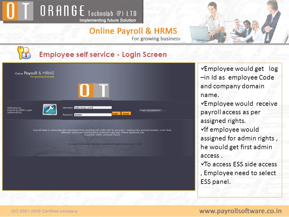 Employee self service - Login Screen