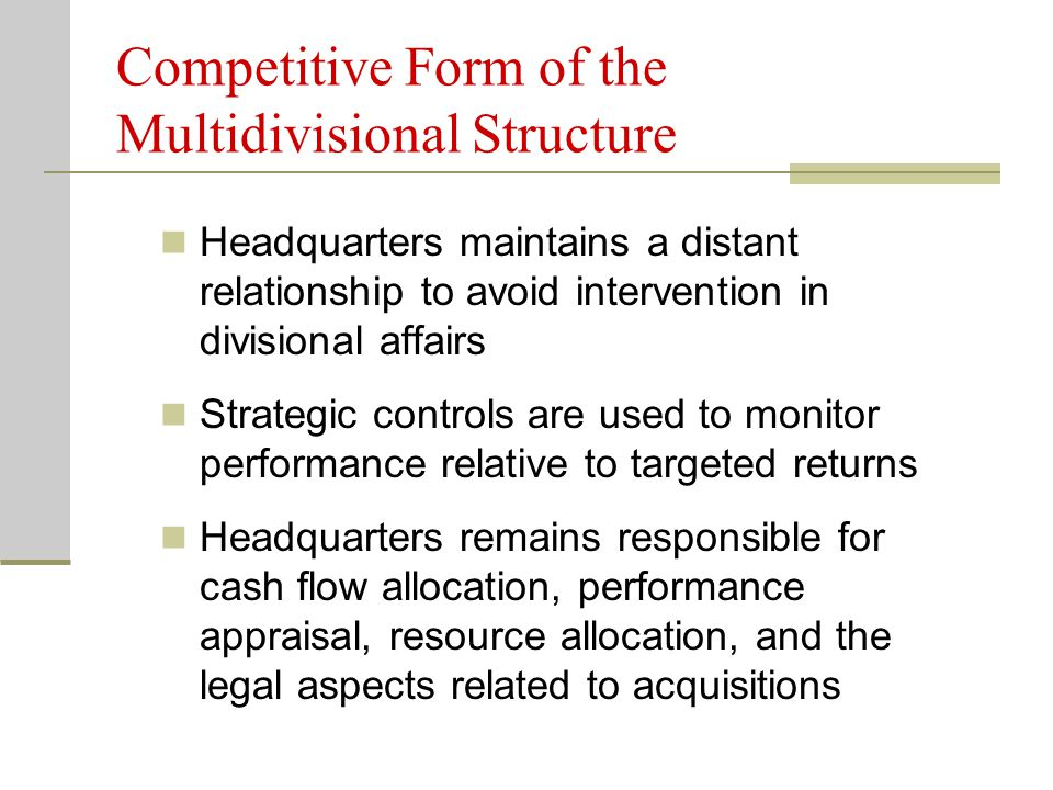 Divisions do not share common corporate strengths Integration devices are not developed to coordinate activities across divisions Efficient capital markets in unrelated strategies require organizational arrangements that emphasize divisional competition rather than cooperation Specific performance expectations and accountability for independent divisions stimulate internal competition for future resources