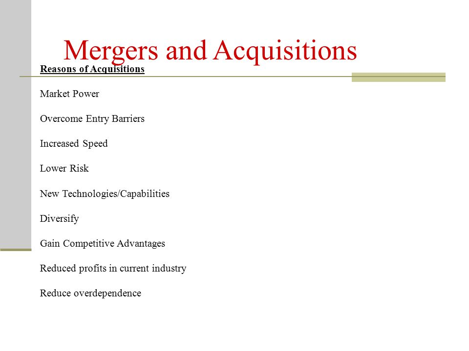 Mergers, Acquisitions, and Takeovers – What Are the Differences? Key Terms Takeover – special type of acquisition strategy wherein the target firm did