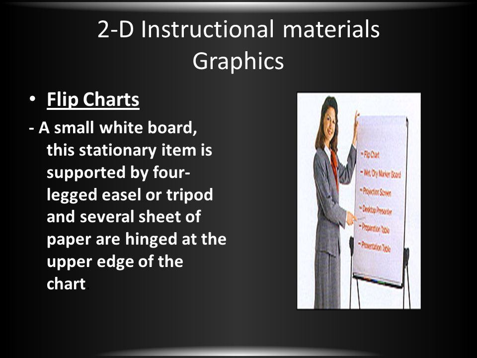 2-D Instructional materials Graphics Flip Charts - A small white board, this stationary item is supported by four- legged easel or tripod and several