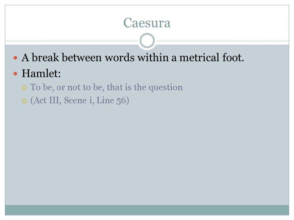 Caesura A break between words within a metrical foot.