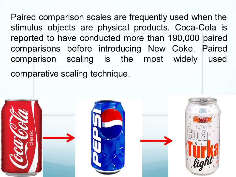 Paired comparison scales are frequently used when the stimulus objects are physical products. Coca-Cola is reported to have conducted more than 190,00