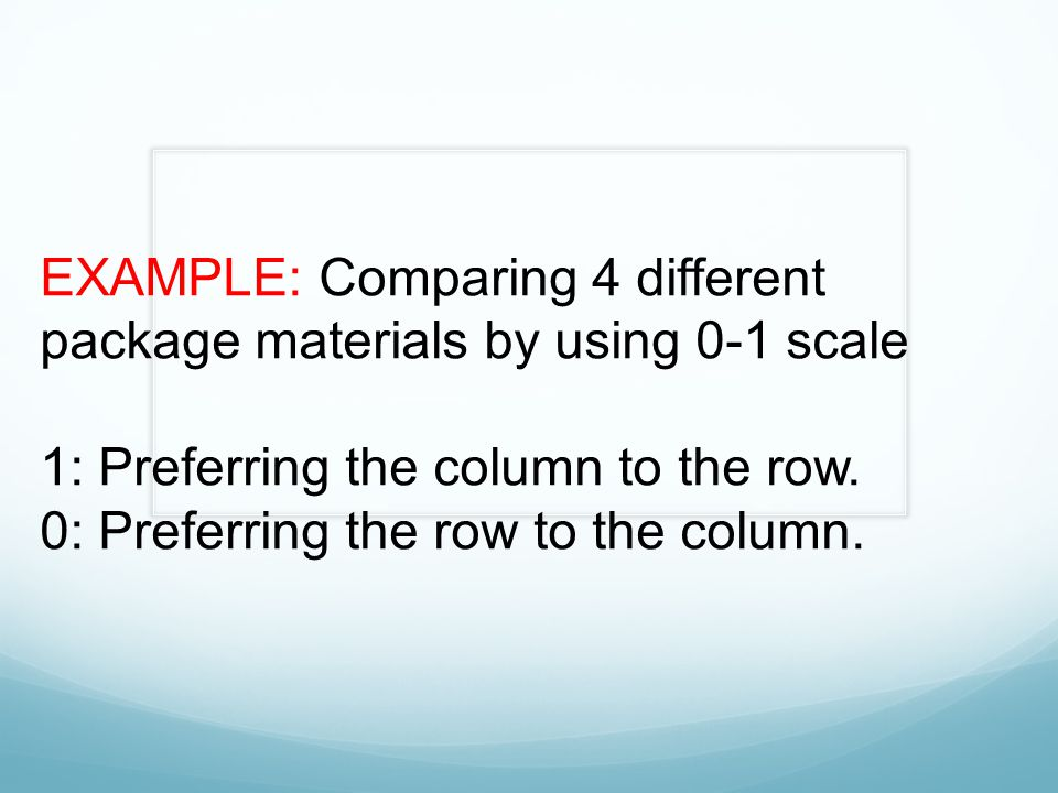 EXAMPLE: Comparing 4 different package materials by using 0-1 scale 1: Preferring the column to the row. 0: Preferring the row to the column.