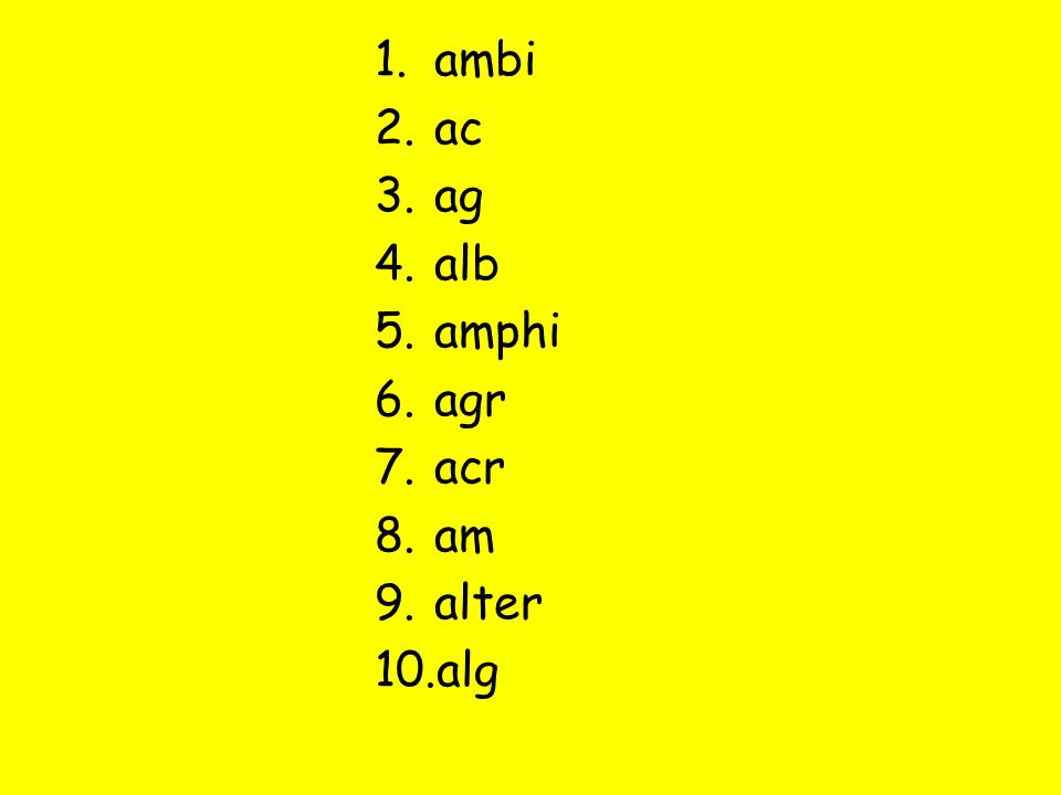 1.ambi 2.ac 3.ag 4.alb 5.amphi 6.agr 7.acr 8.am 9.alter 10.alg