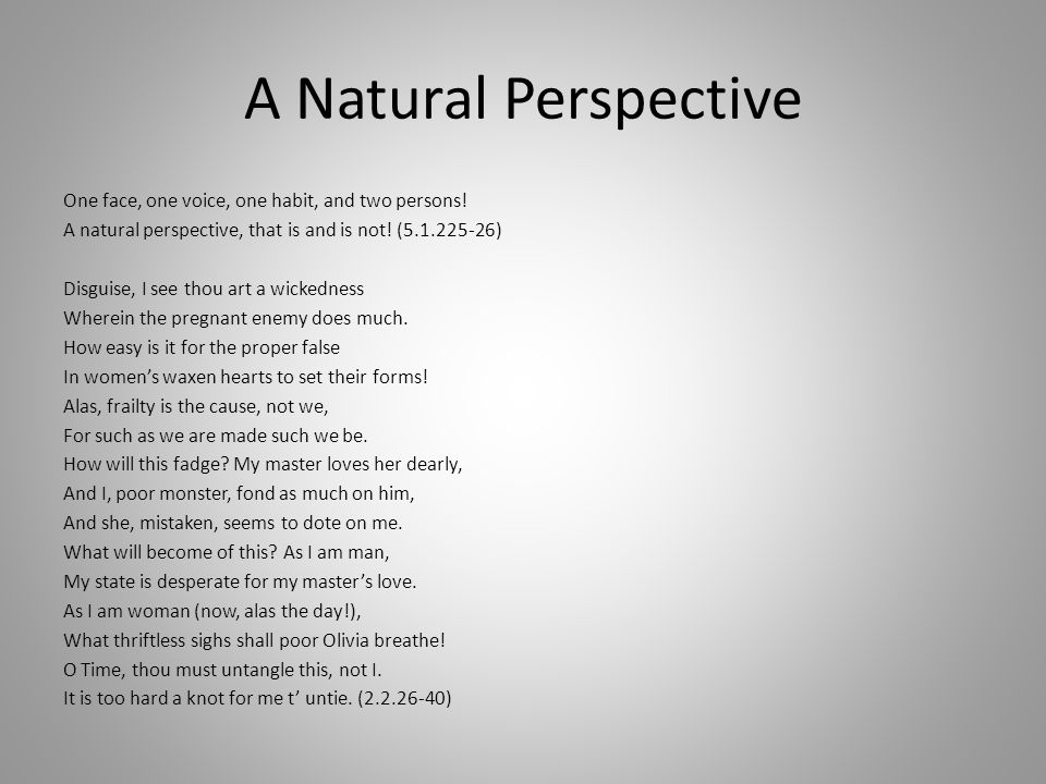 A Natural Perspective One face, one voice, one habit, and two persons.