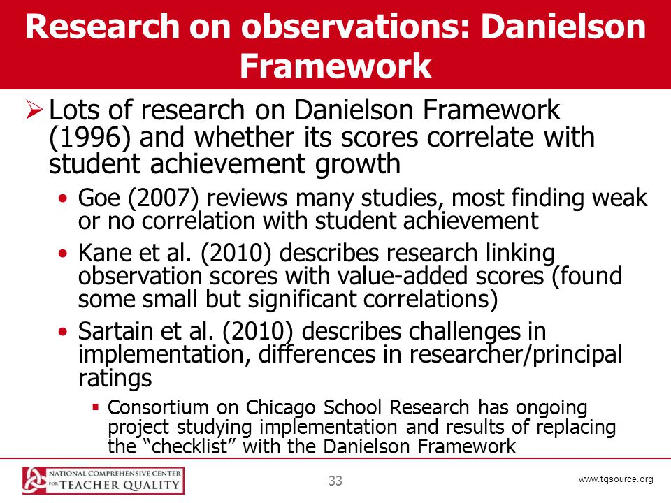 www.tqsource.org 33 Research on observations: Danielson Framework  Lots of research on Danielson Framework (1996) and whether its scores correlate with student achievement growth Goe (2007) reviews many studies, most finding weak or no correlation with student achievement Kane et al.