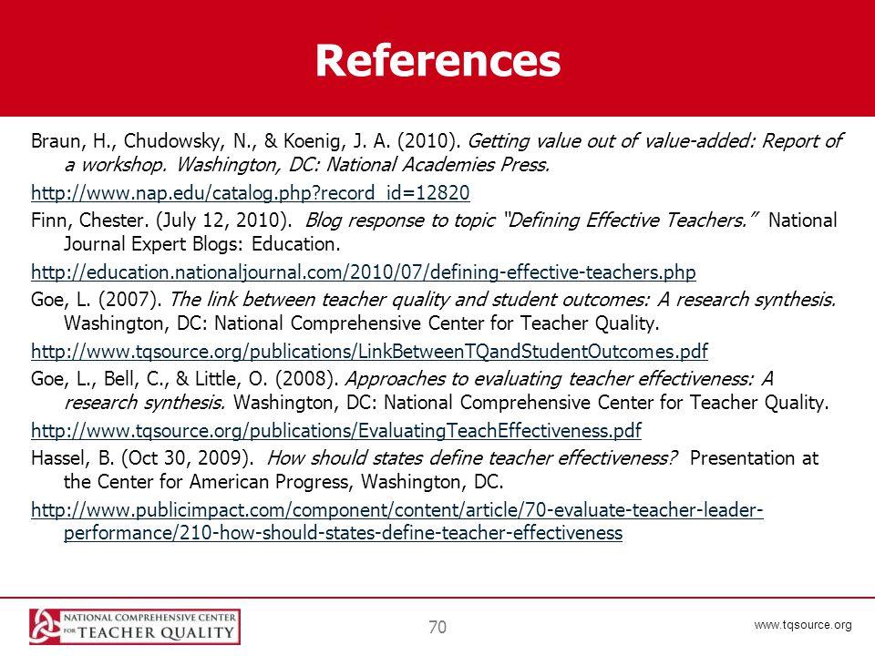 www.tqsource.org References Braun, H., Chudowsky, N., & Koenig, J.