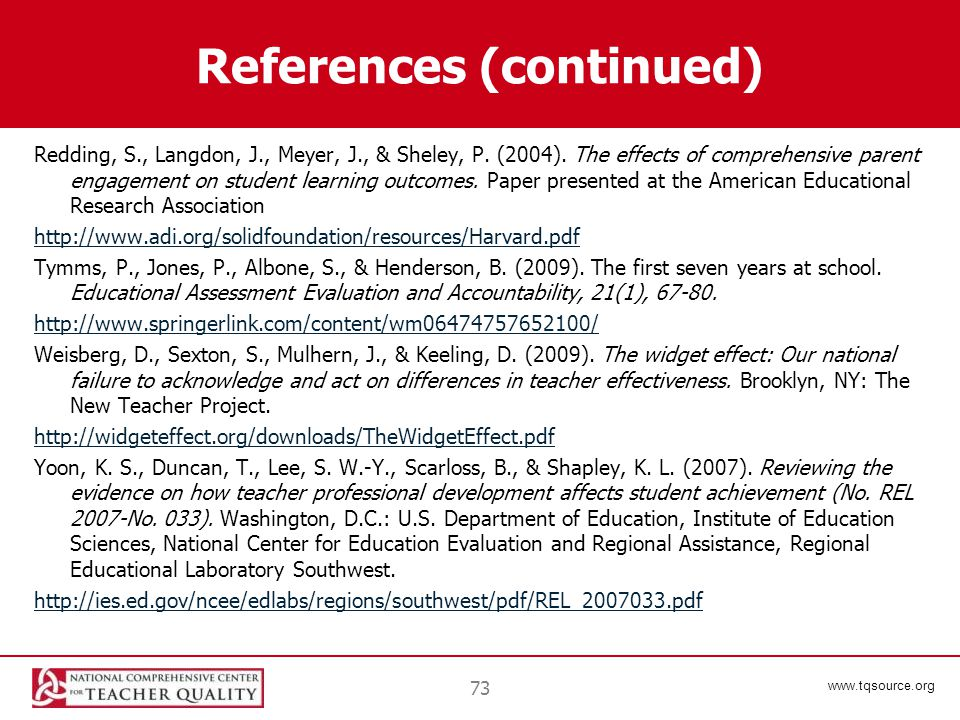 www.tqsource.org References (continued) Redding, S., Langdon, J., Meyer, J., & Sheley, P.