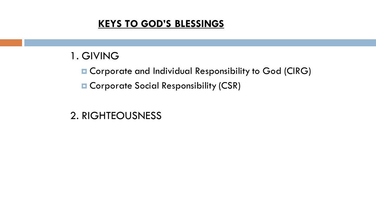 KEYS TO GOD'S BLESSINGS 1.