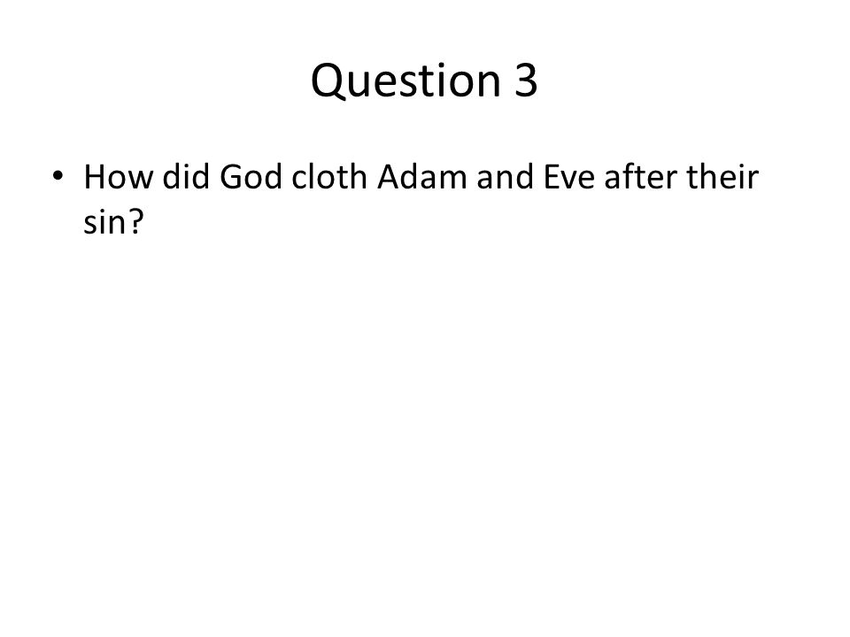Question 3 How did God cloth Adam and Eve after their sin?