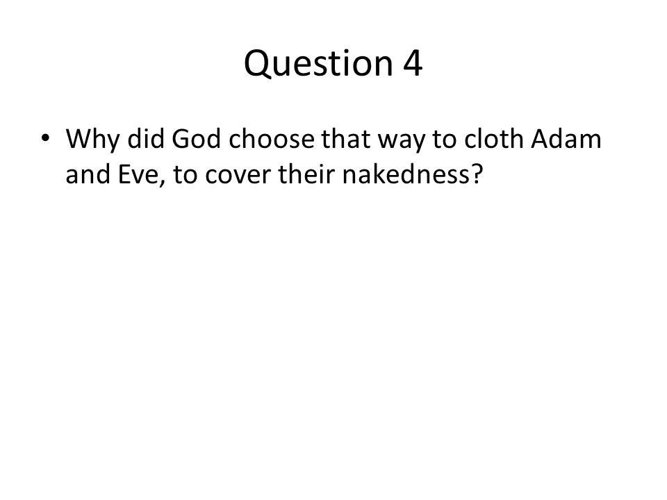Question 4 Why did God choose that way to cloth Adam and Eve, to cover their nakedness?