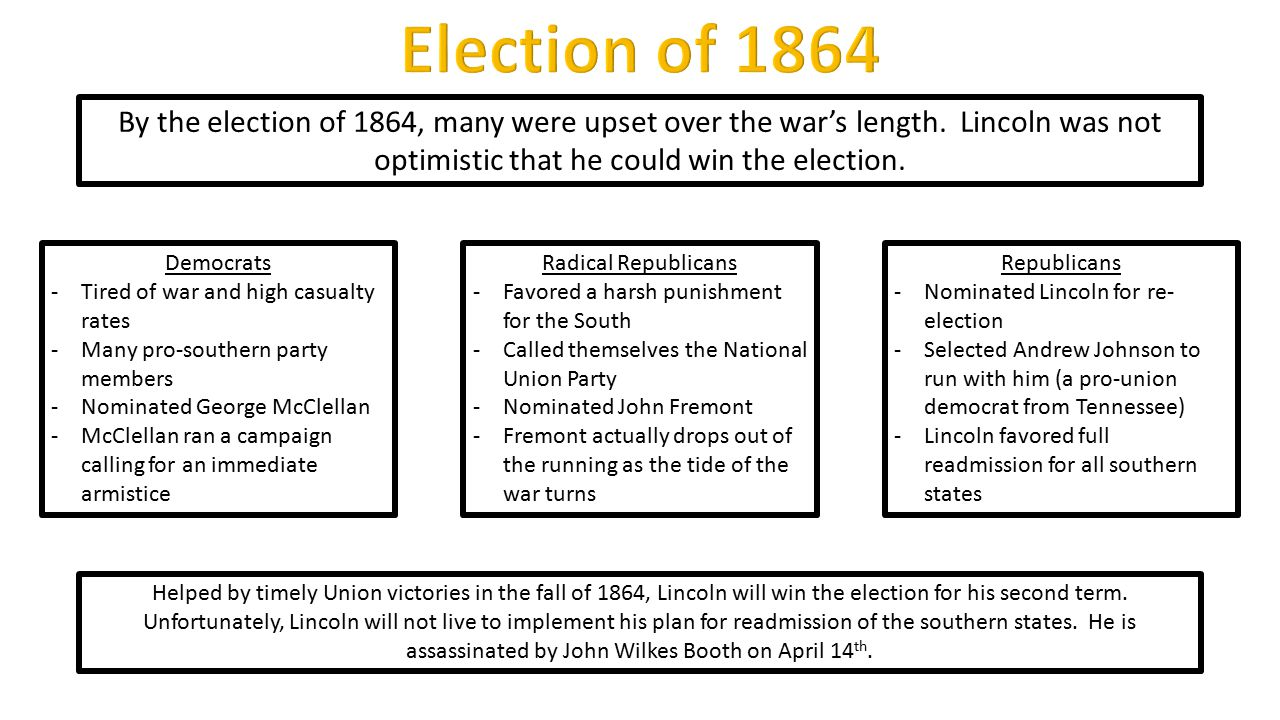 Democrats -Tired of war and high casualty rates -Many pro-southern party members -Nominated George McClellan -McClellan ran a campaign calling for an immediate armistice By the election of 1864, many were upset over the war's length.
