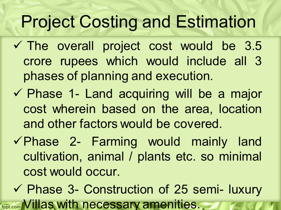 Project Costing and Estimation The overall project cost would be 3.5 crore rupees which would include all 3 phases of planning and execution.