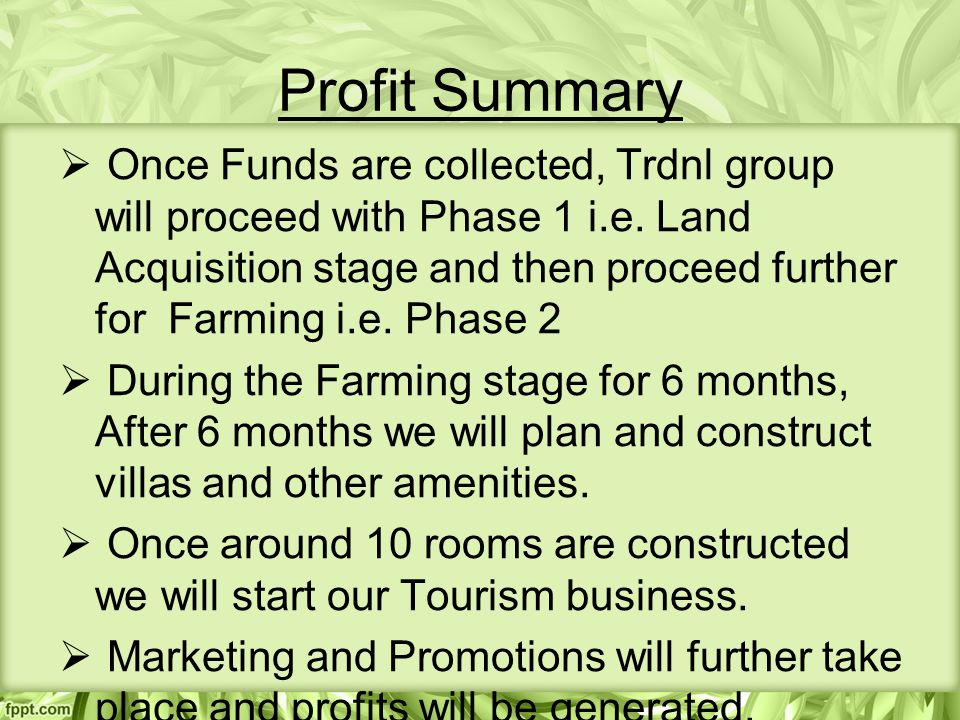 Profit Summary  Once Funds are collected, Trdnl group will proceed with Phase 1 i.e.