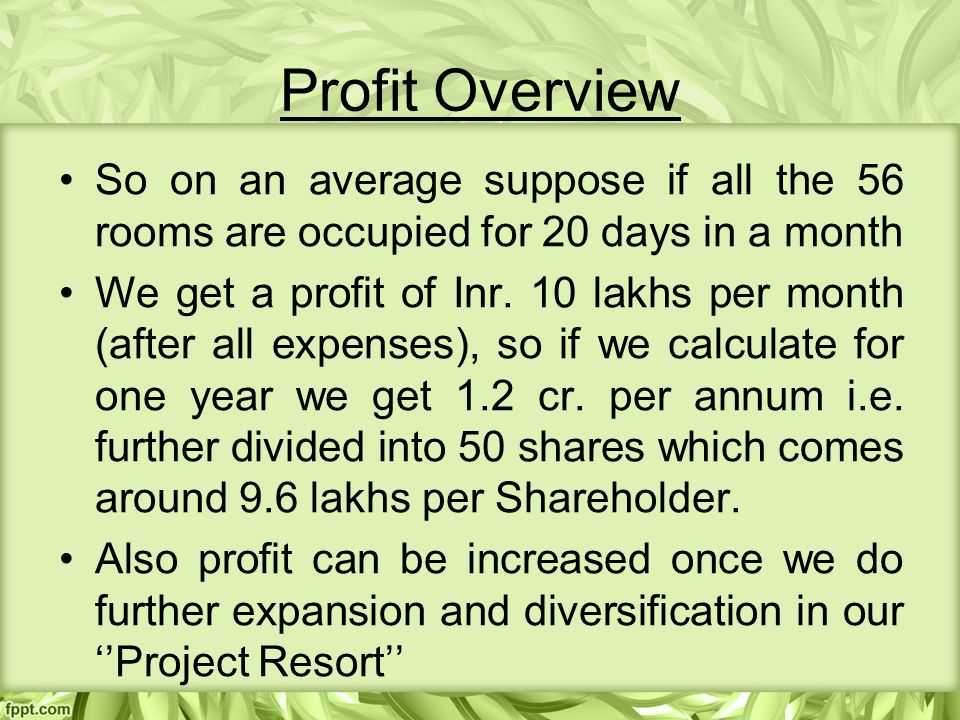 Profit Overview So on an average suppose if all the 56 rooms are occupied for 20 days in a month We get a profit of Inr.