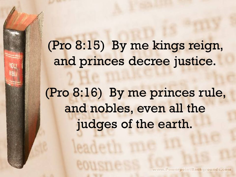 (Pro 8:15) By me kings reign, and princes decree justice.