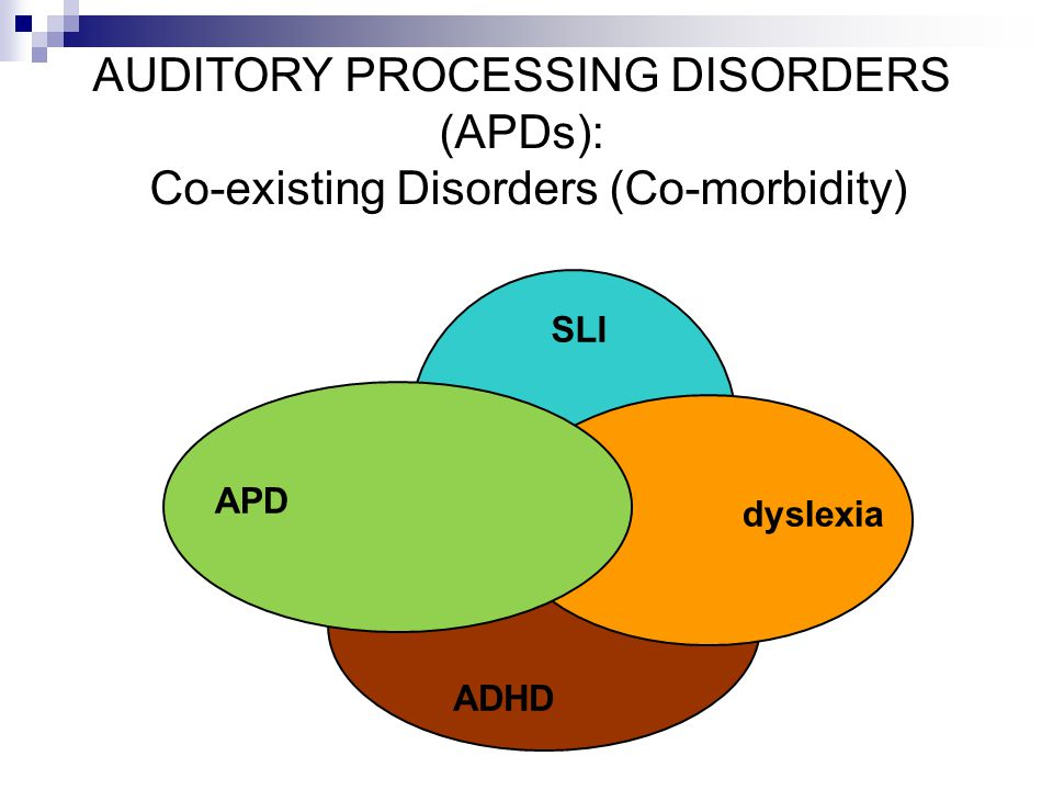Problems in testing and diagnosing APD Moreover, these conditions are not mutually exclusive.