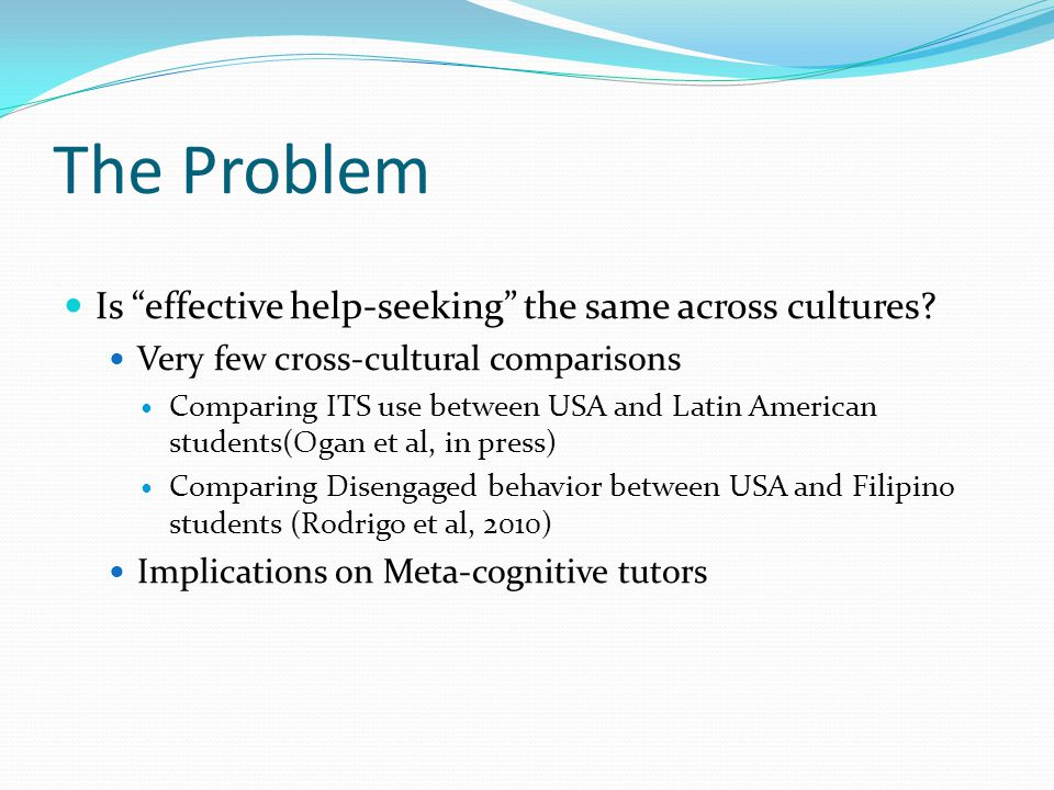 The Problem Is effective help-seeking the same across cultures.