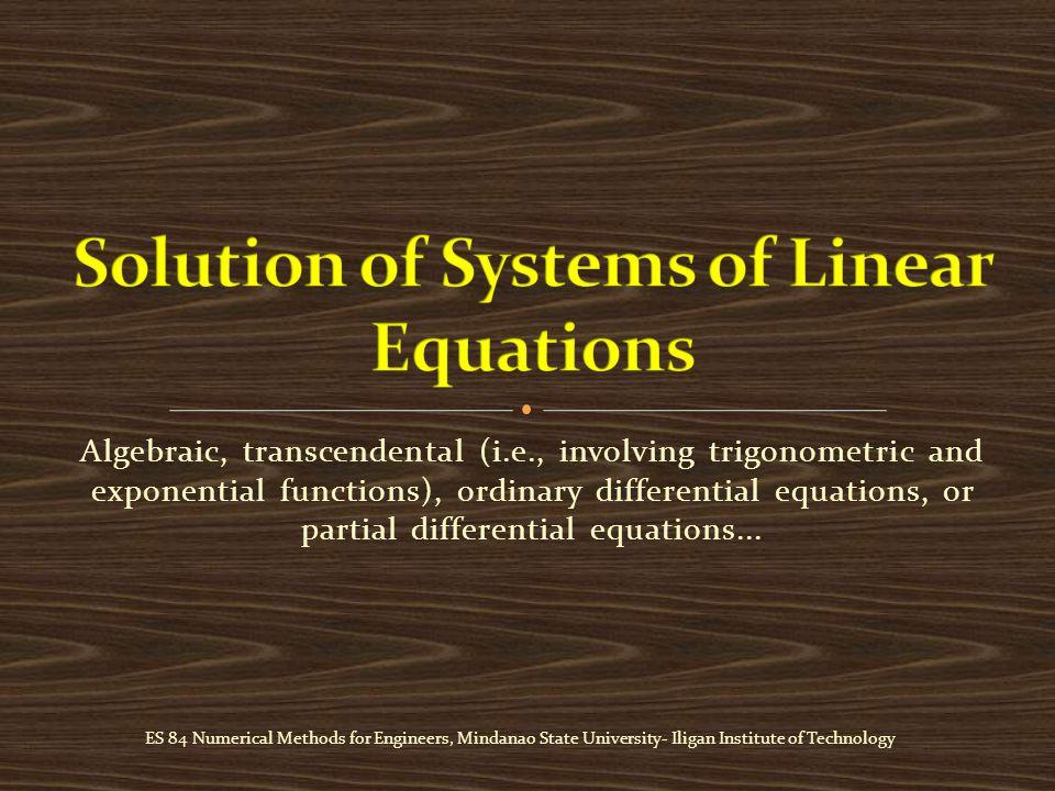 Algebraic, transcendental (i.e., involving trigonometric and exponential functions), ordinary differential equations, or partial differential equations...